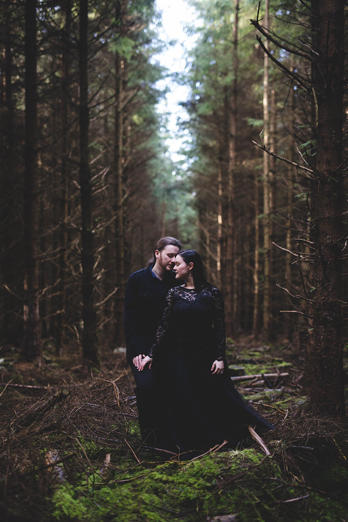Winter couples portrait session in the wicklow mountains woodland